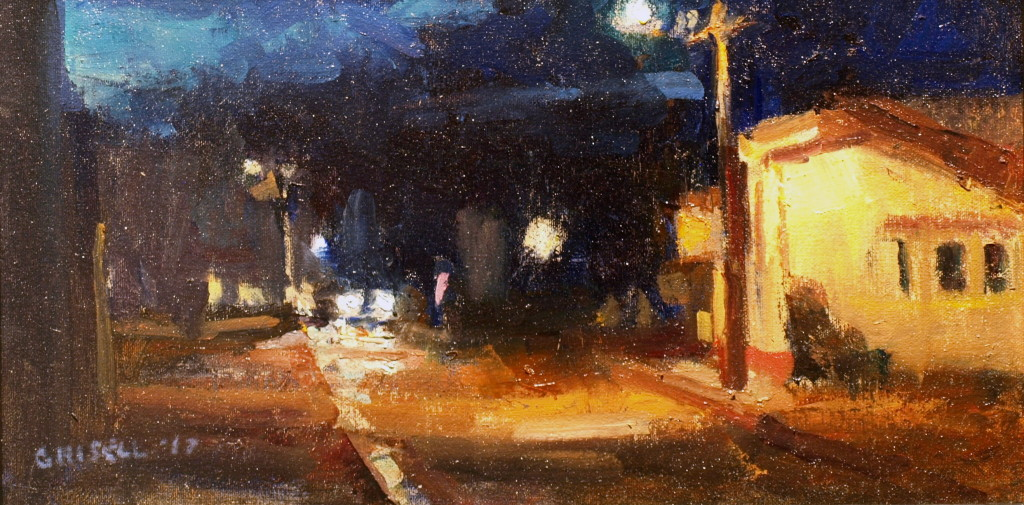 Deserted Street, Oil on Canvas on Panel, 9 x 16 Inches, by Susan Grisell, $275