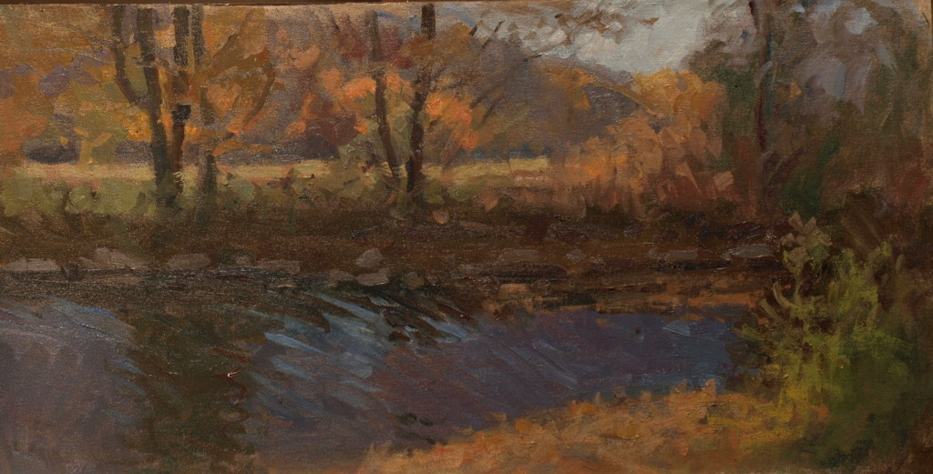 Shepaug River Autumn, Oil on Canvas on Panel, 12 x 24 Inches, by Susan Grisell, $500