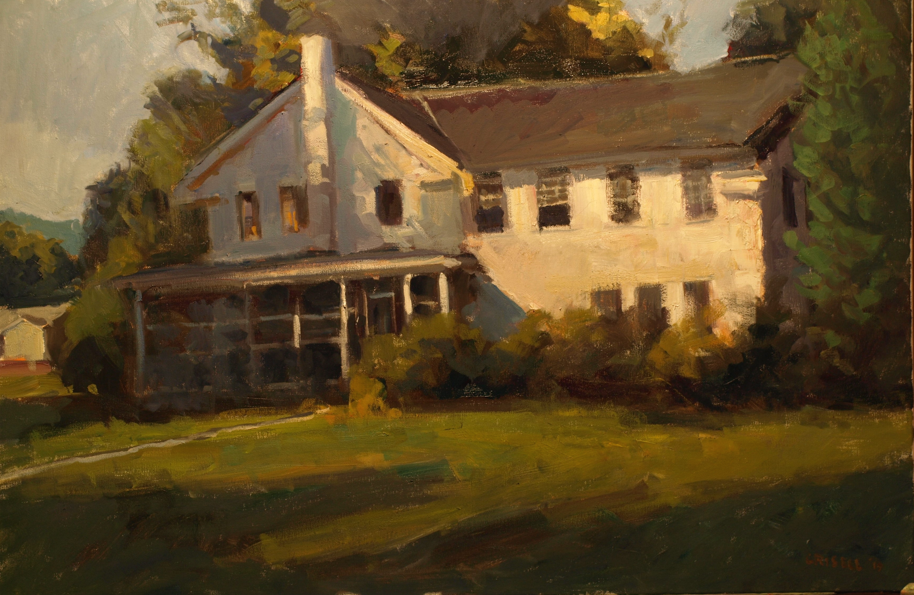 Farmhouse, Oil on Canvas, 24 x 36 Inches, by Susan Grisell, $1500