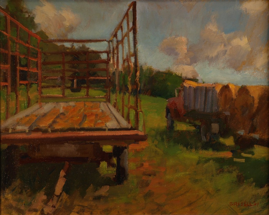 Hay Wagon, Oil on Canvas, 16 x 20 Inches, by Susan Grisell, $450