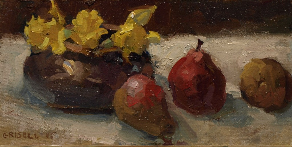 Narcissus and Pears, Oil on Canvas on Panel, 6 x 12 Inches, by Susan Grisell, $210