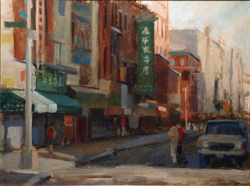 Street in Chinatown, Oil on Canvas, 18 x 24 Inches, by Susan Grisell, $650