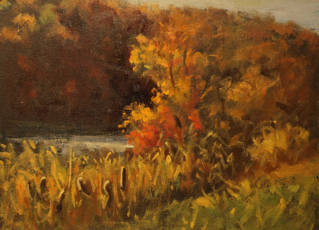 Autumn at Mill Pond, Oil on Panel, 12 x 16 Inches, by Susan Grisell, $325