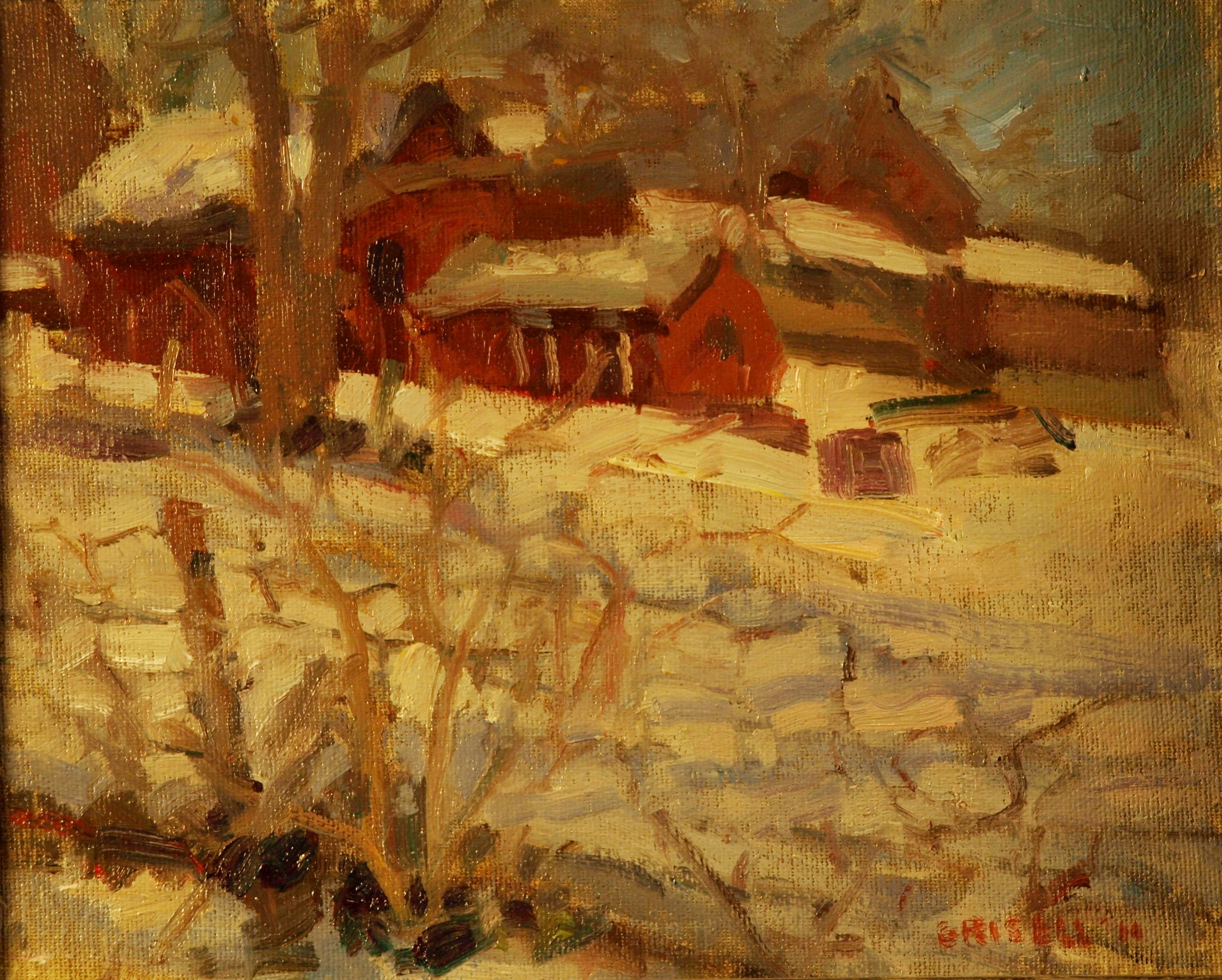 Yale Farm - March, Oil on Canvas on Panel, 8 x 10 Inches, by Susan Grisell, $150
