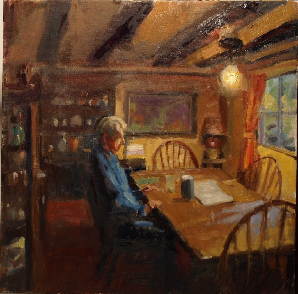 Dining Room, Oil on Canvas, 24 x 24 Inches, by Susan Grisell, $750