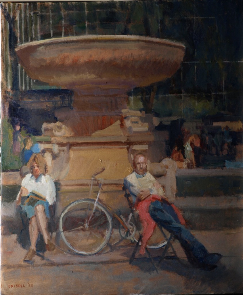 Fountain - Bryant Park, Oil on Canvas, 24 x 20 Inches, by Susan Grisell, $650