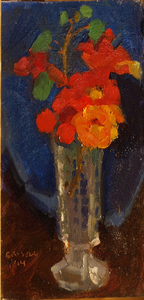 Nasturtiums, Oil on Canvas on Panel, 12 x 6 Inches, by Susan Grisell, $200
