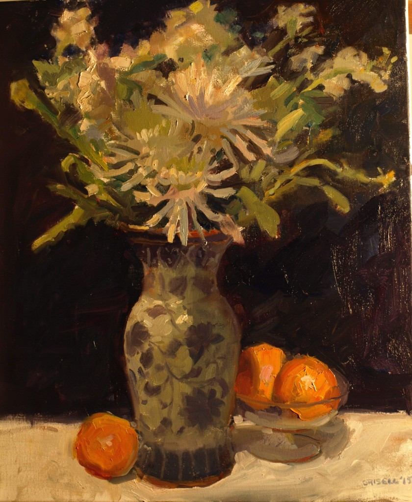 Spider Mums, Oil on Canvas, 24 x 20 Inches, by Susan Grisell, $750