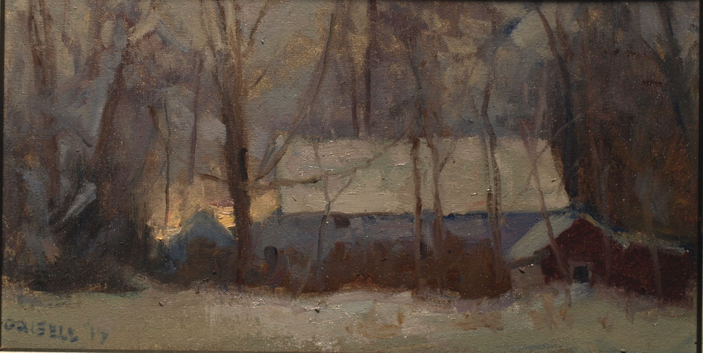White Barn in Kent, Oil on Canvas on Panel, 9 x 16 Inches, by Susan Grisell, $275
