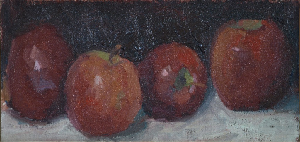 Apples, Oil on Canvas on Panel, 6 x 12 Inches, by Susan Grisell, $150