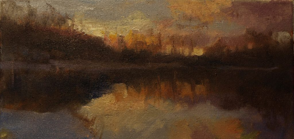 Canal in Winter, Oil on Canvas, 7 x 14 Inches, by Susan Grisell, $225