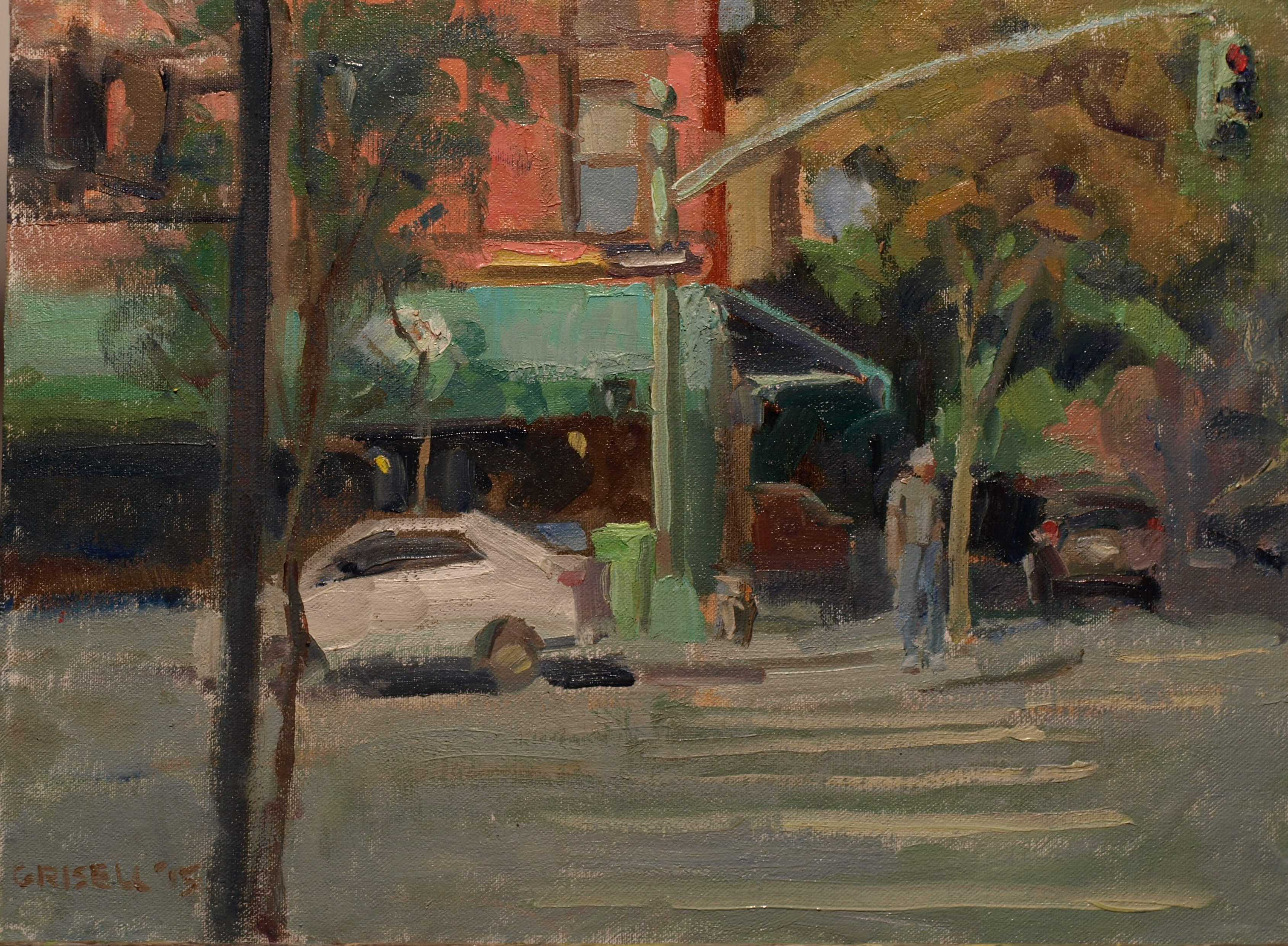 Columbus and 78th, Oil on Canvas on Panel, 12 x 16 Inches, $300