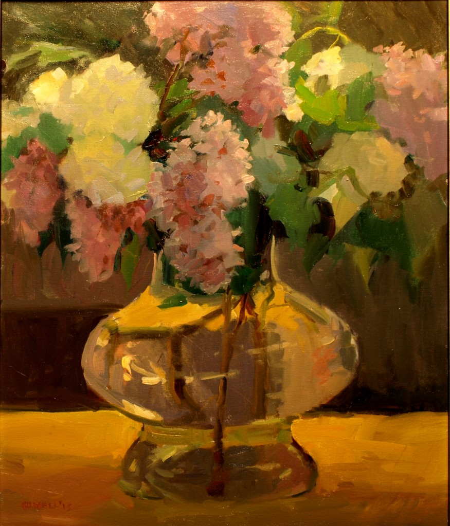 Lilacs in Glass Vase, Oil on Canvas, 24 x 20 Inches, by Susan Grisell, $750