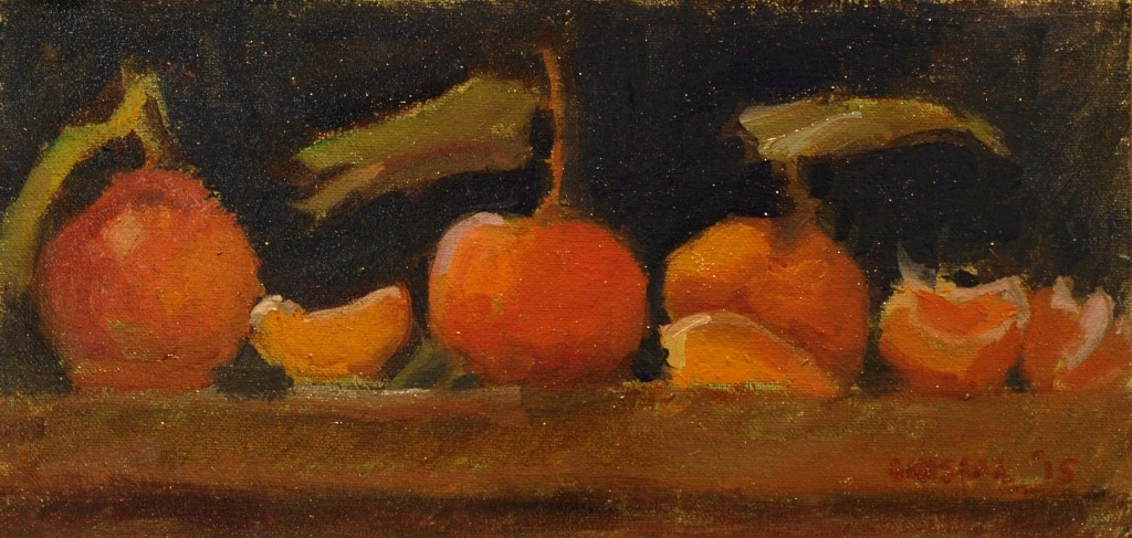 Mandarins, Oil on Canvas on Panel, 6 x 12 Inches, by Susan Grisell, $195