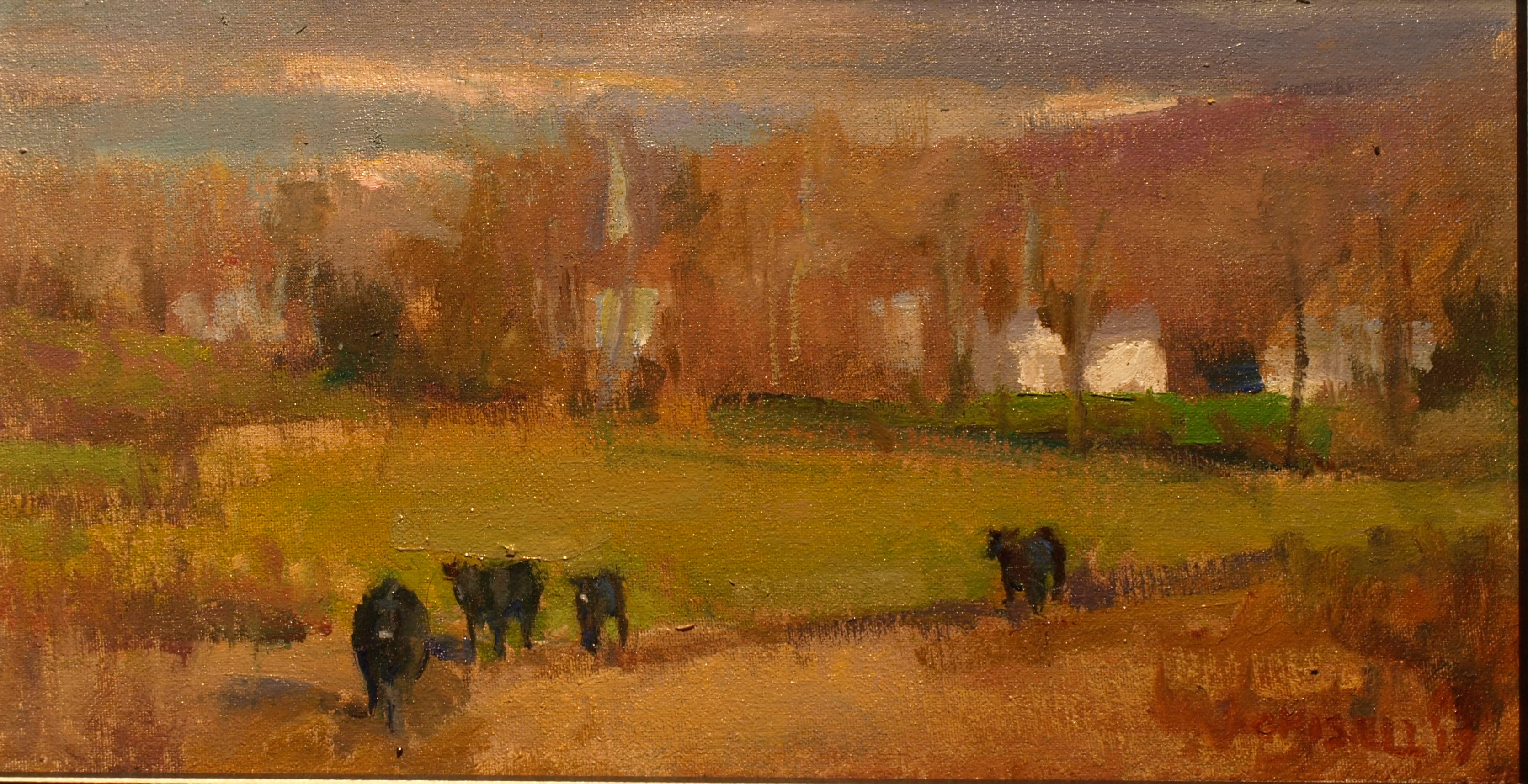Pasture in Gaylordsville, Oil on Canvas on Panel, 9 x 16 Inches, by Susan Grisell, $275