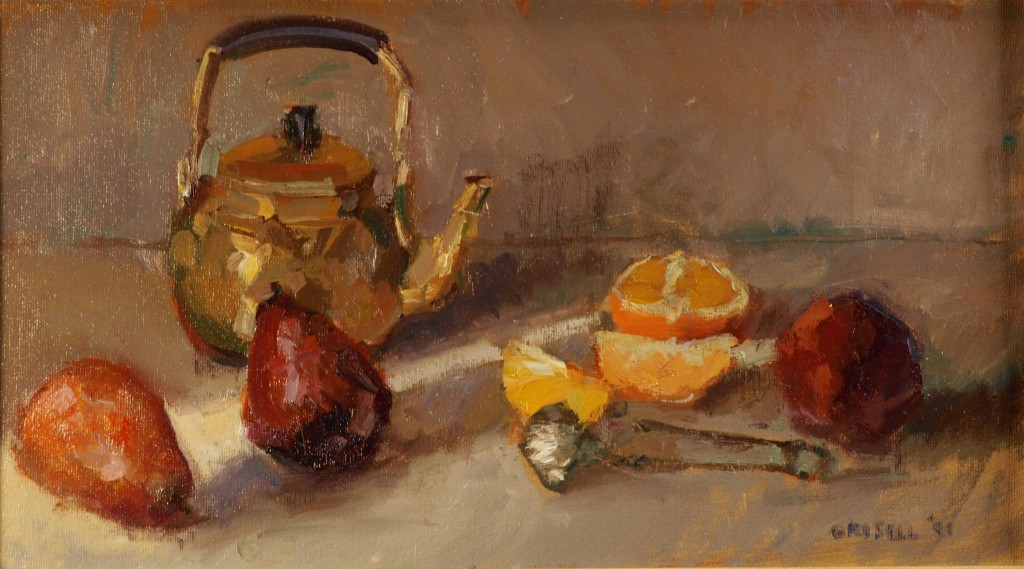 Teapot Pears and Orange, Oil on Canvas On Panel, 9 x 16 Inches, by Susan Grisell, $250
