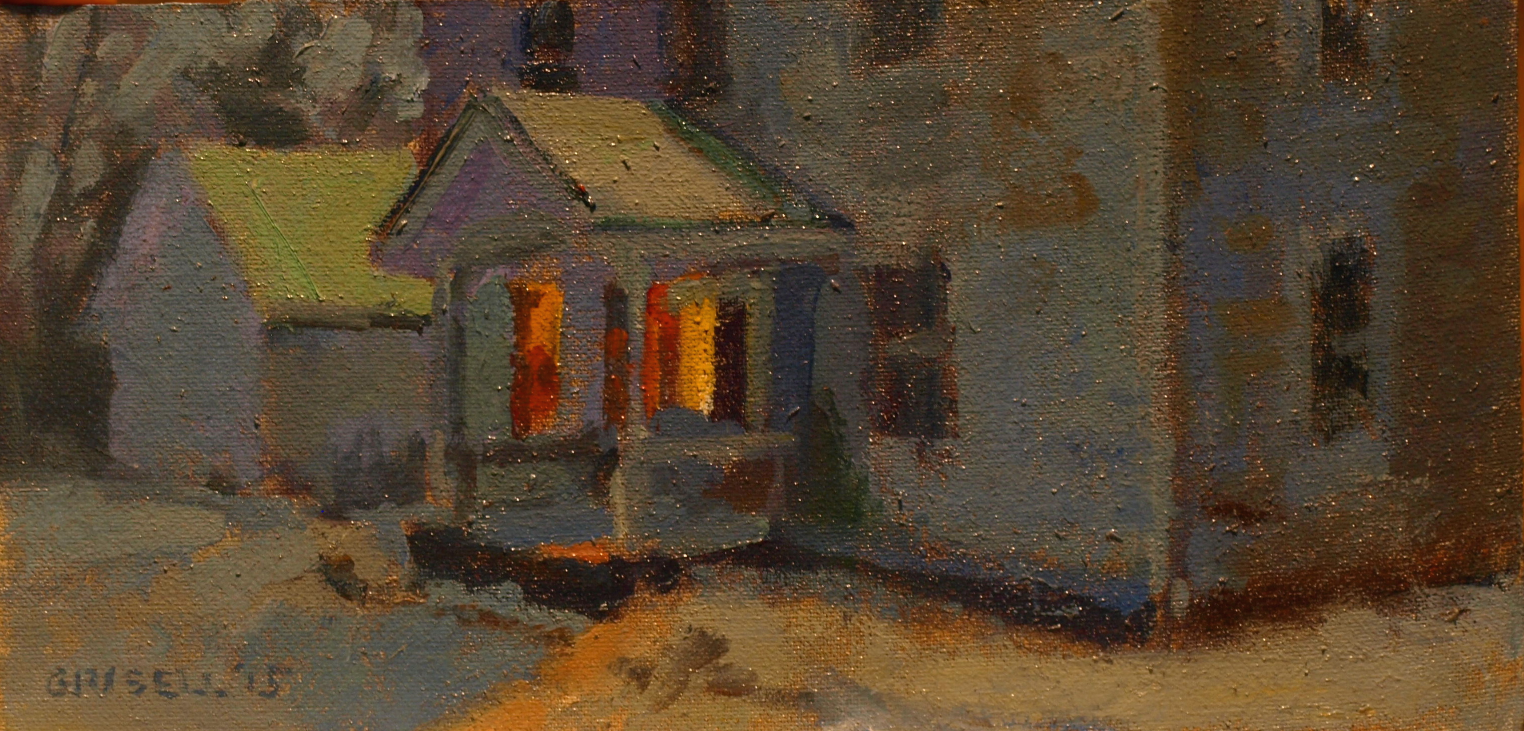 Five O'Clock, Oil on Canvas on Panel, 6 x 12 Inches, by Susan Grisell, $200