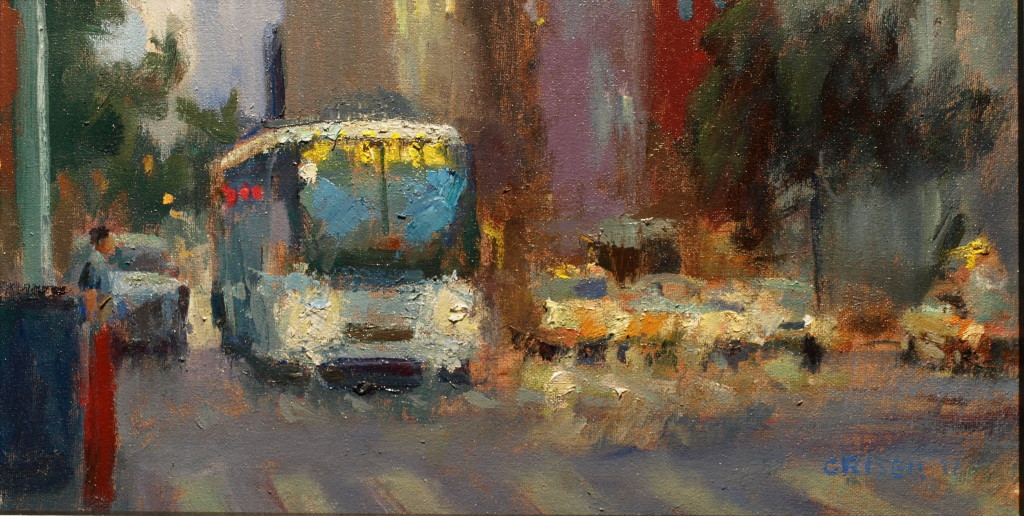 Sixth Avenue Bus, Oil on Canvas on Panel, 9 x 16 Inches, by Susan Grisell, $275