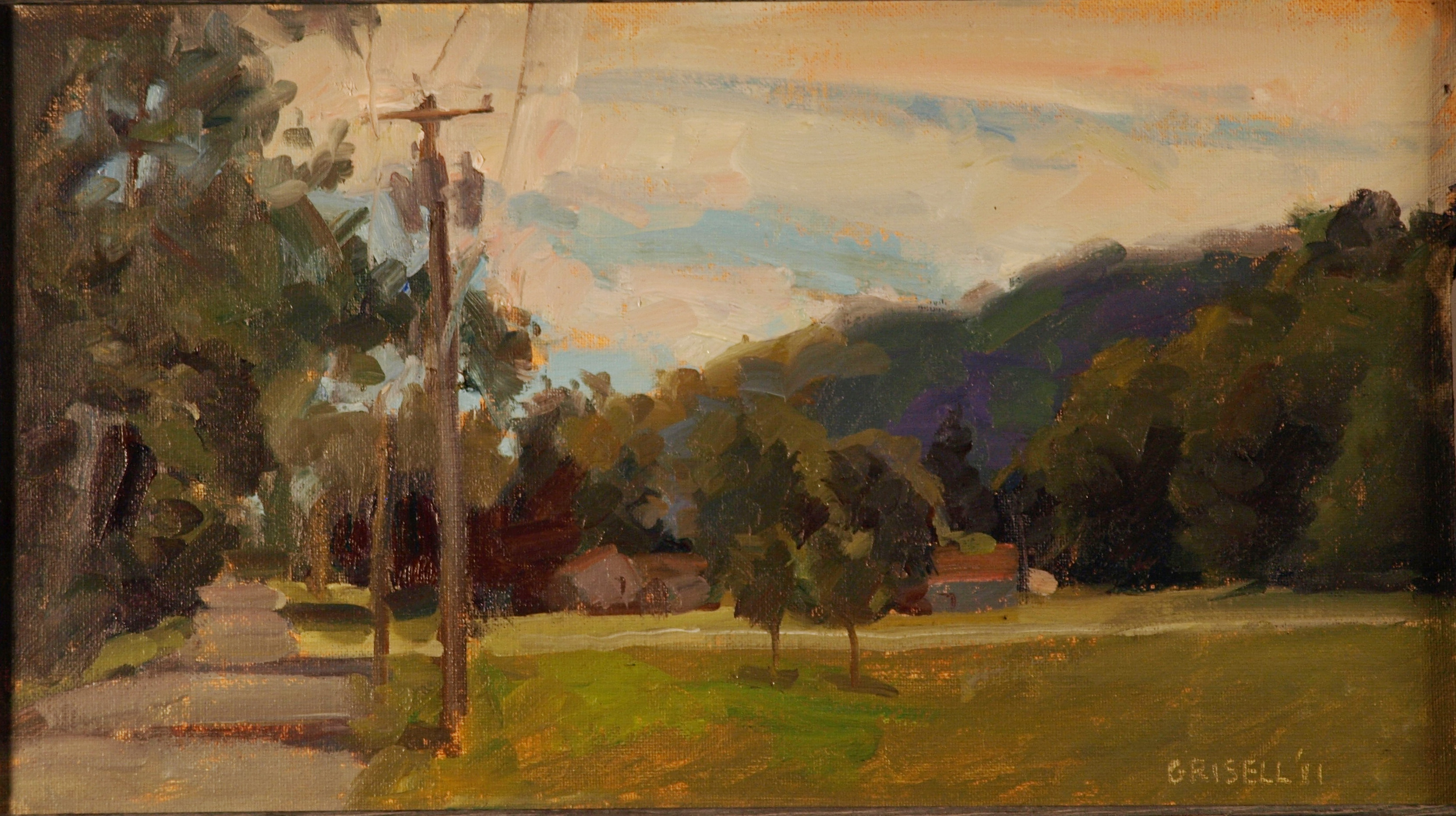 Skiff Mountain Road, Oil on Canvas on Panel, 9 x 16 Inches, by Susan Grisell, $250