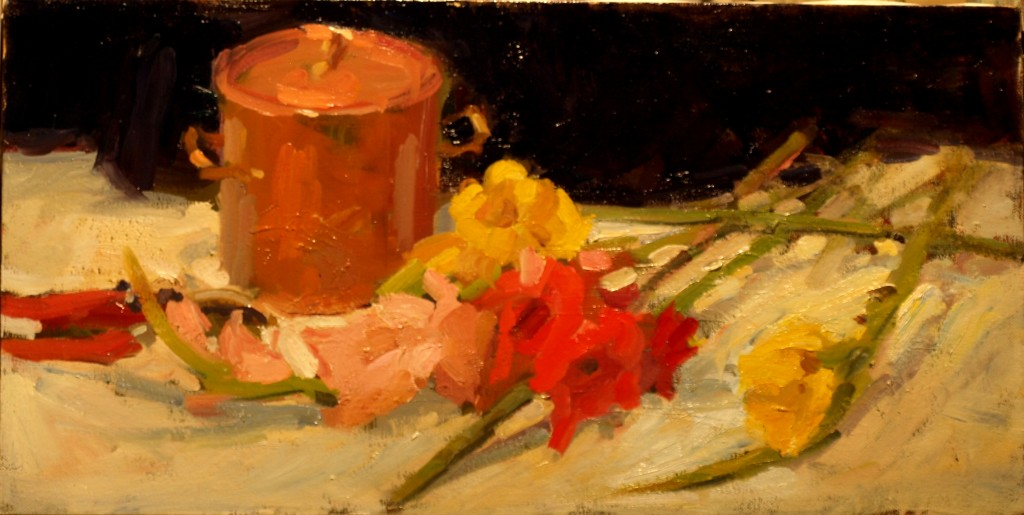 Copper and Gladiolas, Oil on Canvas, 12 x 24 Inches, by Susan Grisell, $475