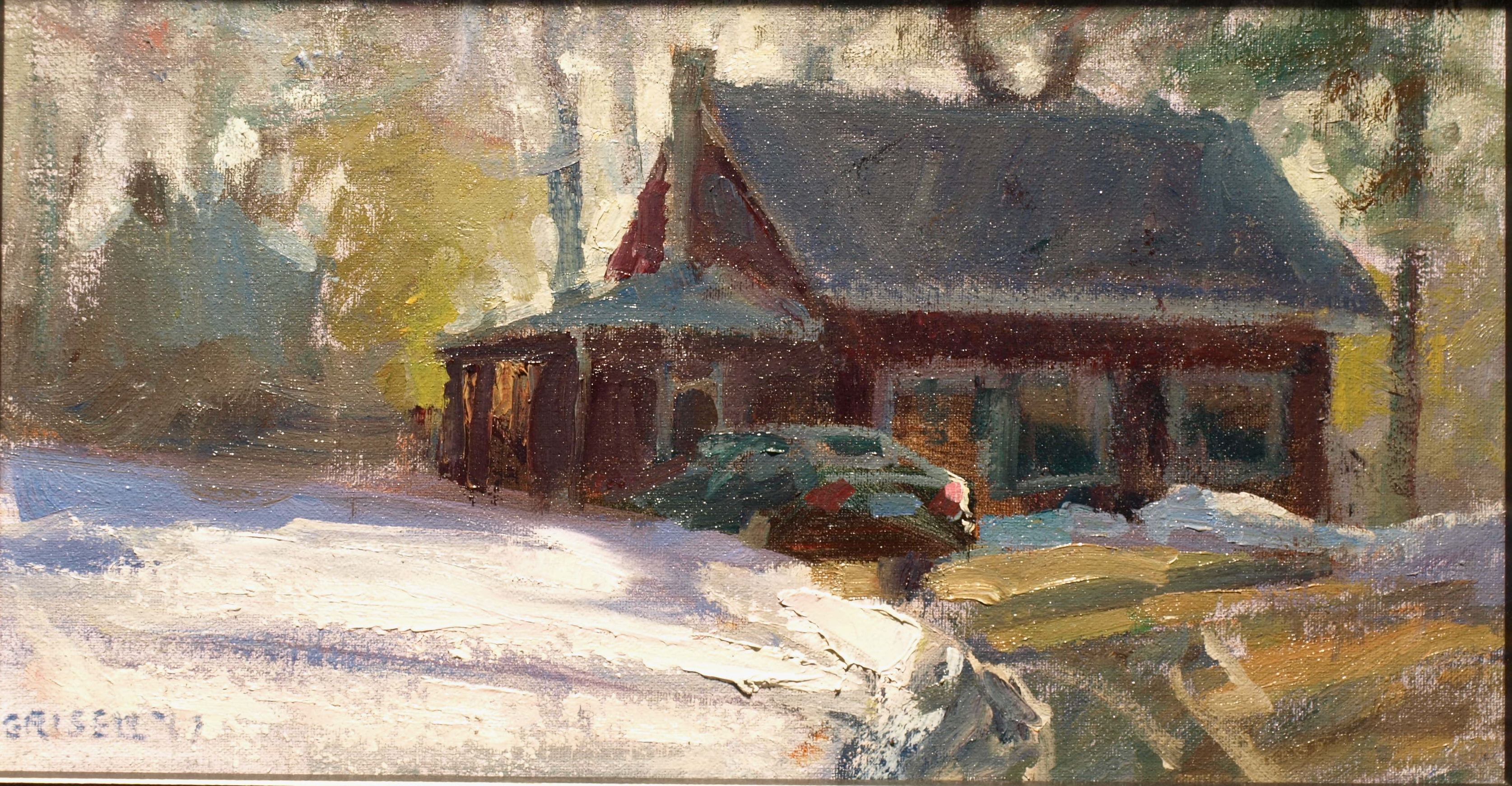 Late Snow, Oil on Canvas on Panel, 9 x 16 Inches, by Susan Grisell, $275