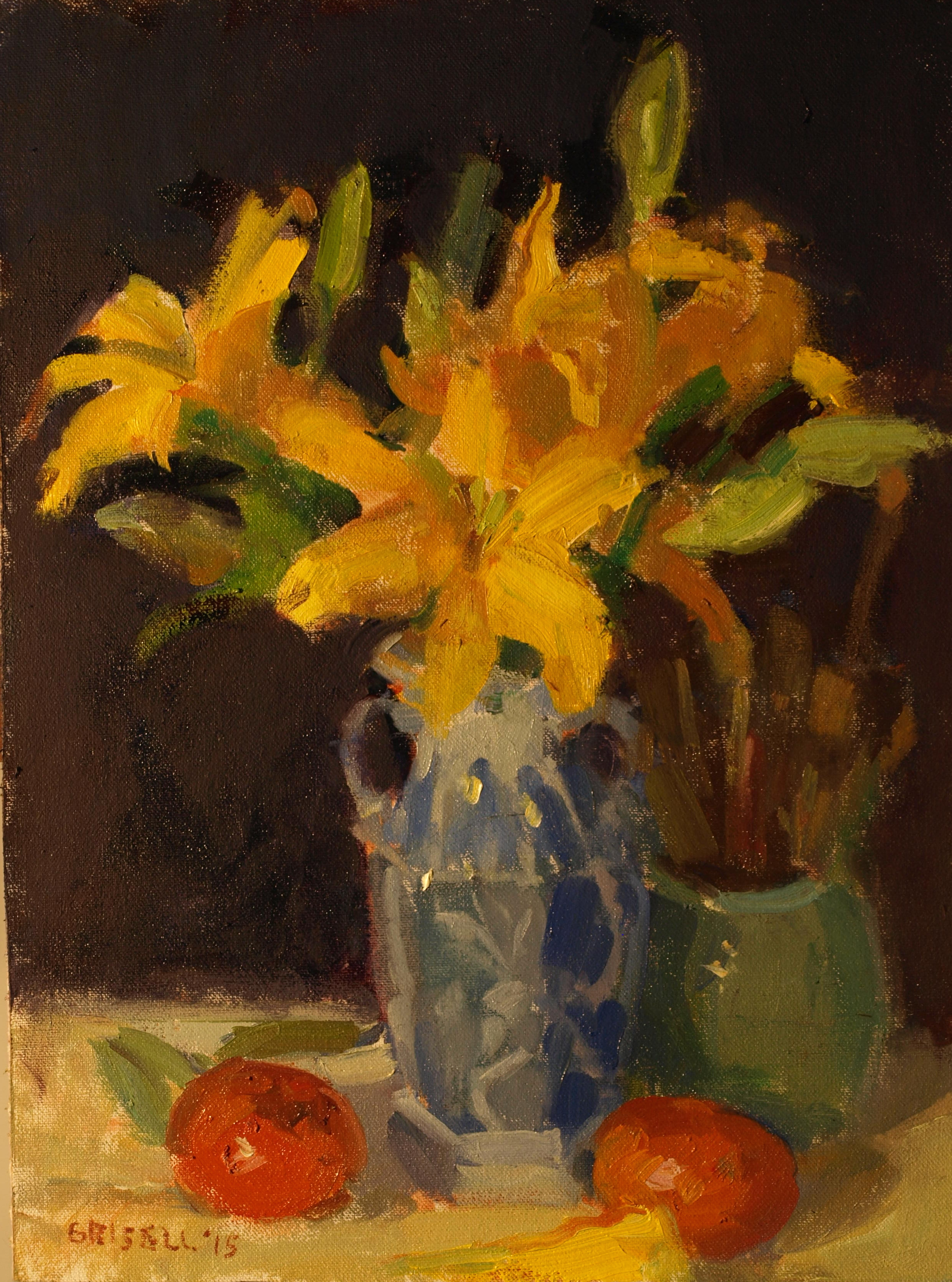 Lilies and Mandarins, Oil on Canvas on Panel, 16 x 12 Inches, by Susan Grisell, $300