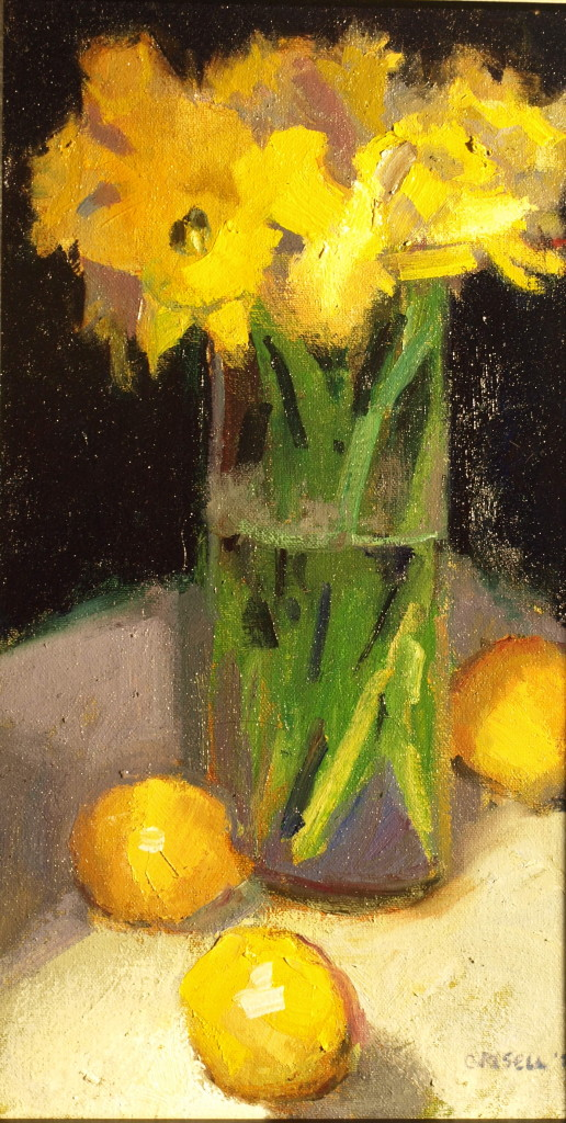 Daffodils and Lemons, Oil on Canvas on Panel, 16 x 9 Inches, by Susan Grisell, $275
