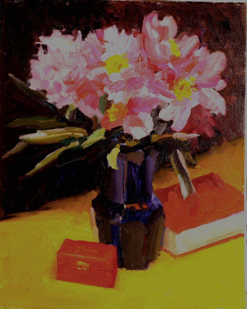 Peonies in Blue Vase, Oil on Canvas, 20 x 16 Inches, by Susan Grisell, $525