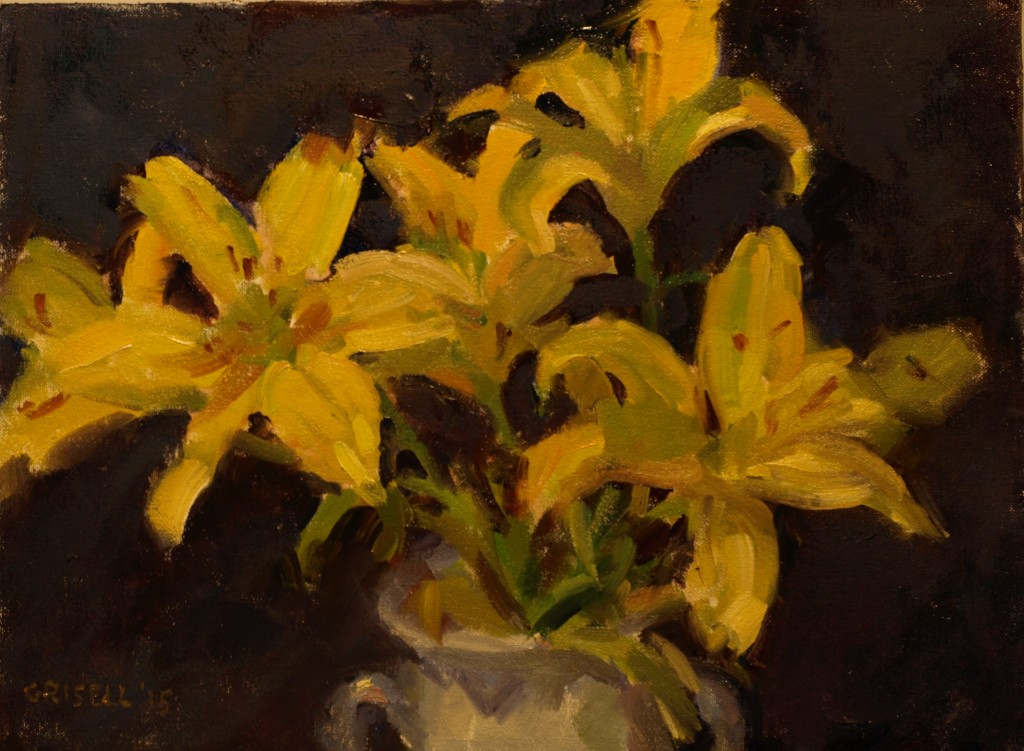 Yellow Lilies, Oil on Canvas on Panel, 12 x 16 Inches, by Susan Grisell, $300