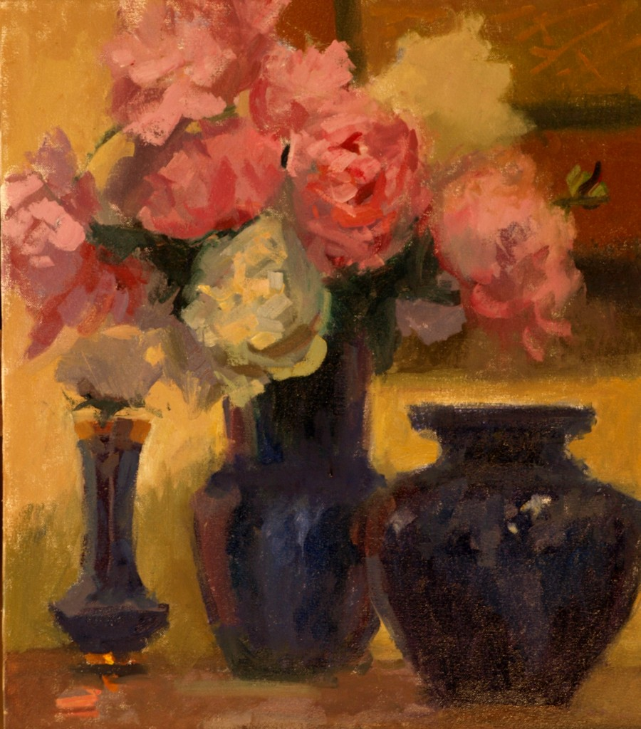 Peonies and Cobalt, Oil on Canvas, 20 x 16 Inches, by Susan Grisell, $515