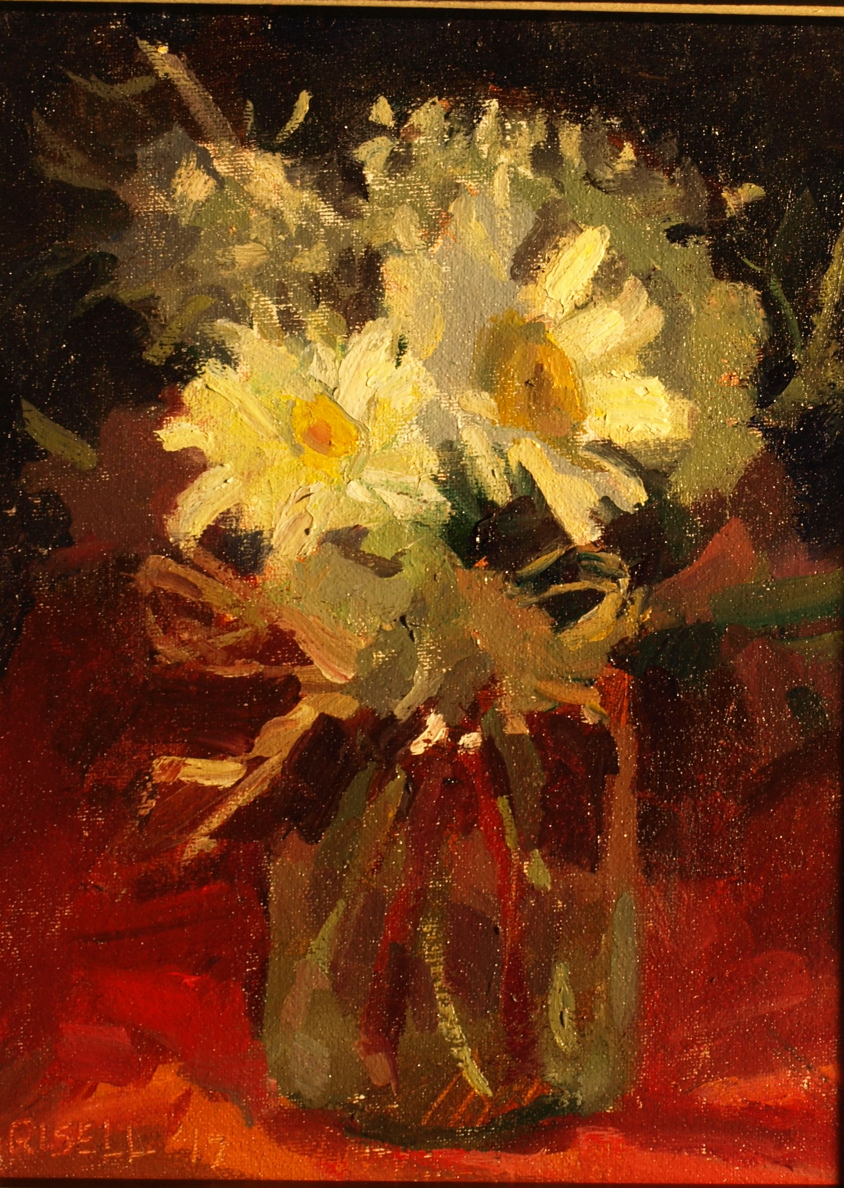 Daisies, Oil on Canvas on Panel, 10 x 8 Inches, by Susan Grisell, $200