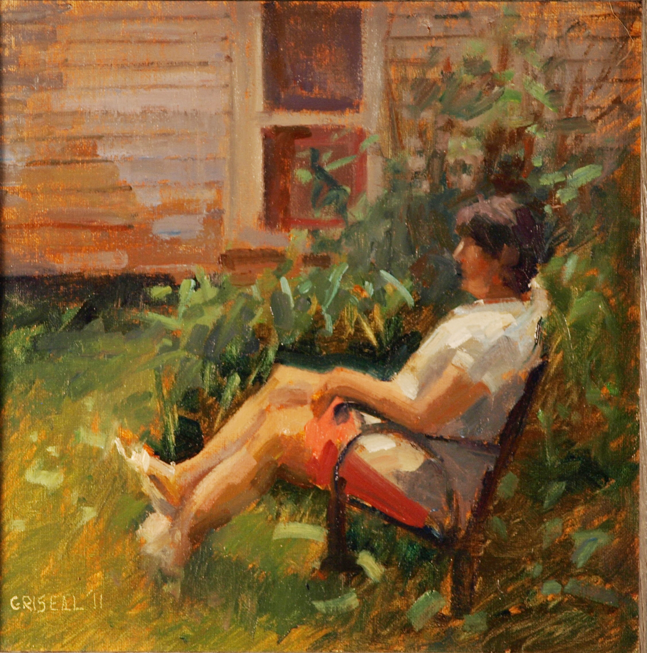 Keri in the Dooryard, Oil on Canvas on Panel, 12 x 12 Inches, by Susan Grisell, $250