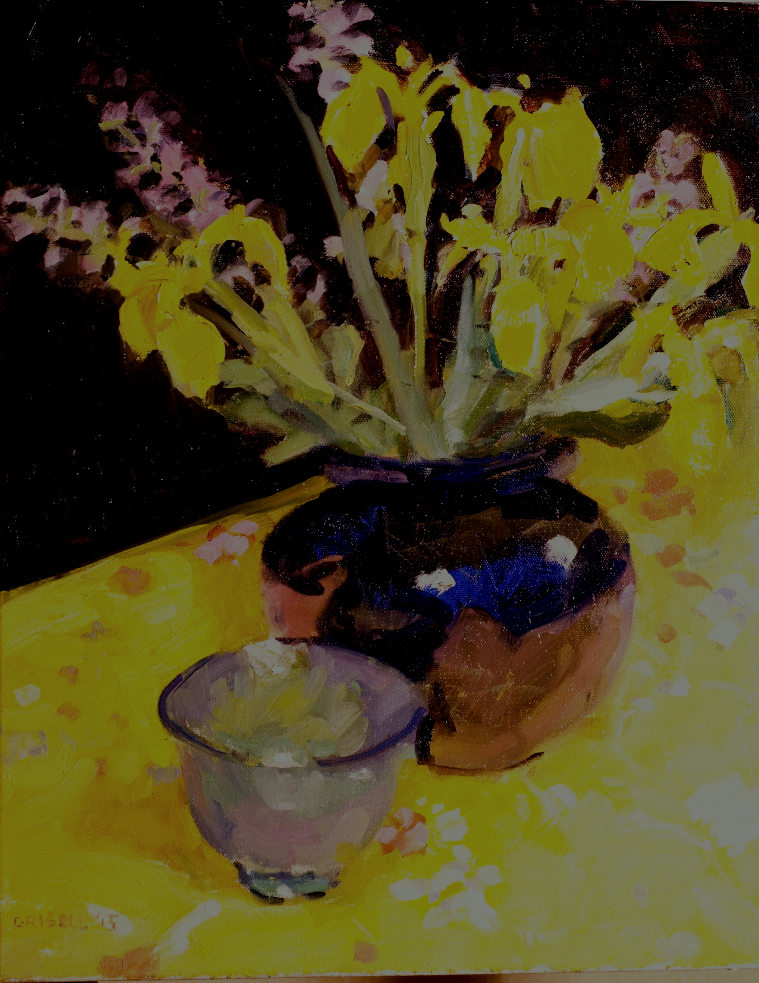 Yellow Iris and Sage, Oil on Canvas, 20 x 16 Inches, by Susan Grisell, $525