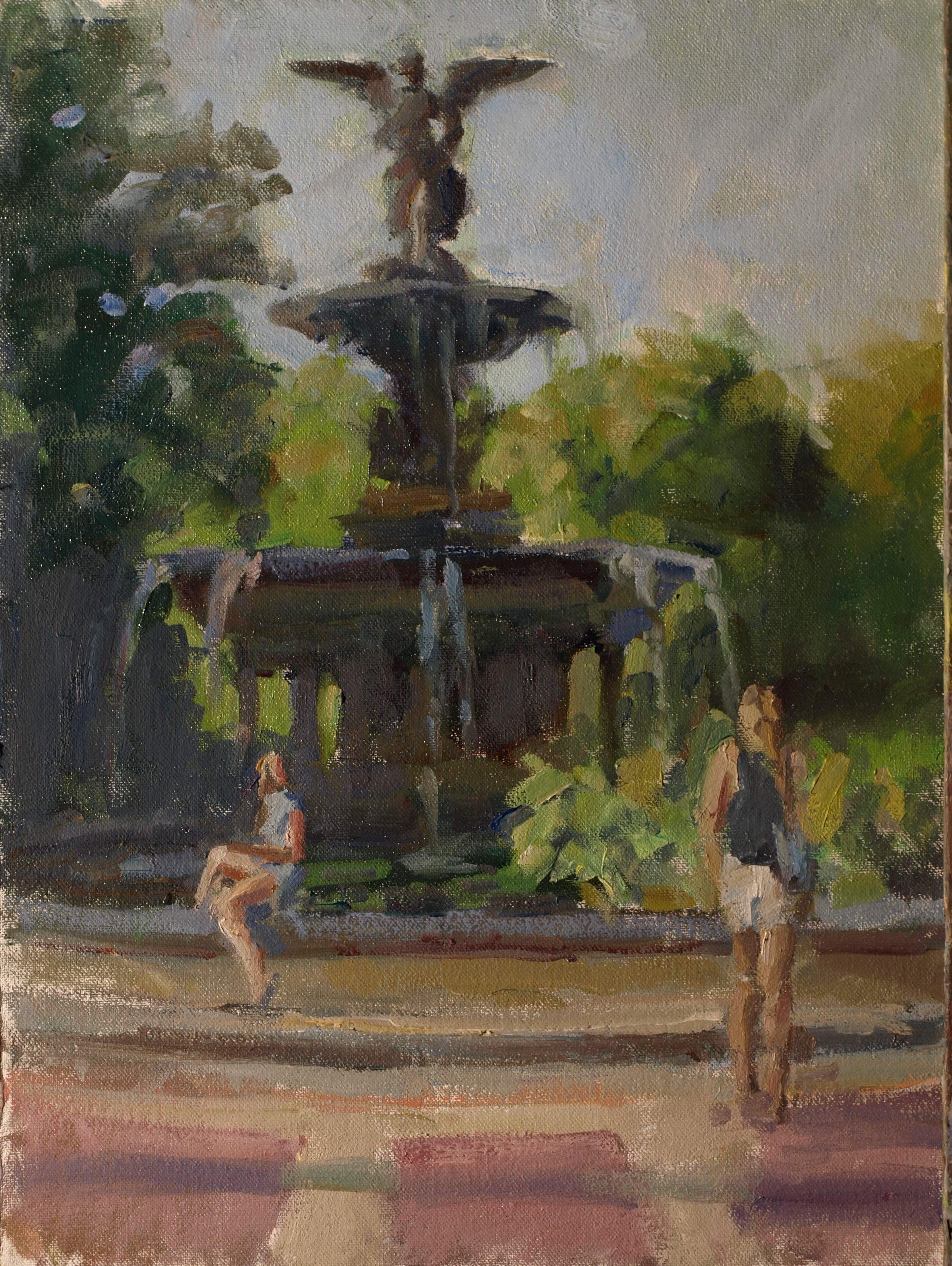 Bethesda Fountain, Oil on Canvas on Panel, 16 x 12 Inches, by Susan Grisell, $300