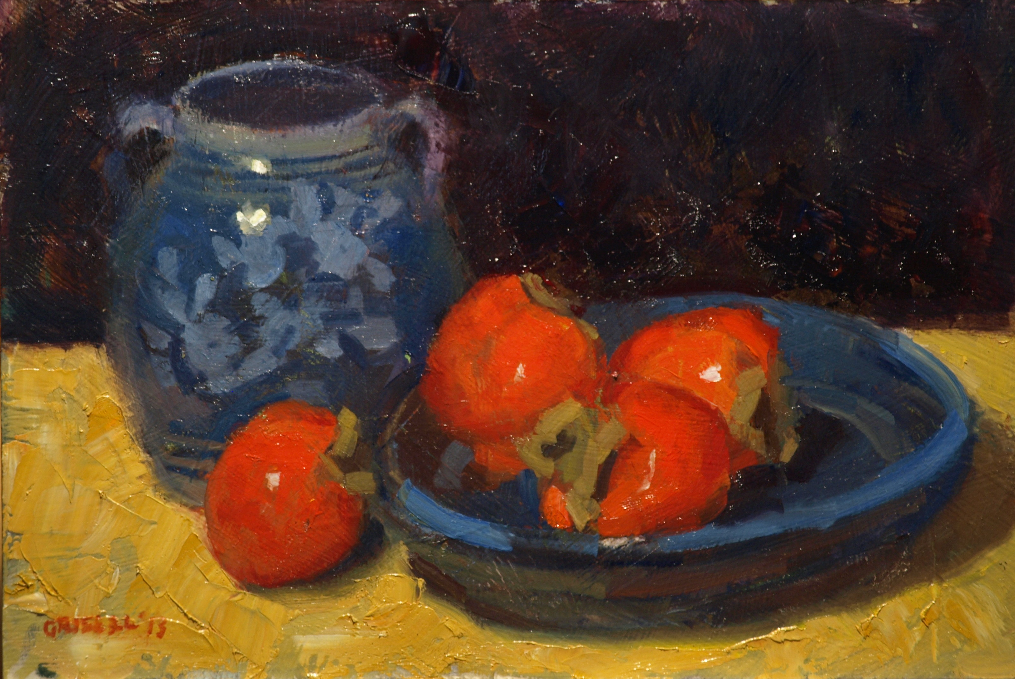Orange and Blue, Oil on Canvas on Panel, 12 x 18 Inches, by Susan Grisell, $275