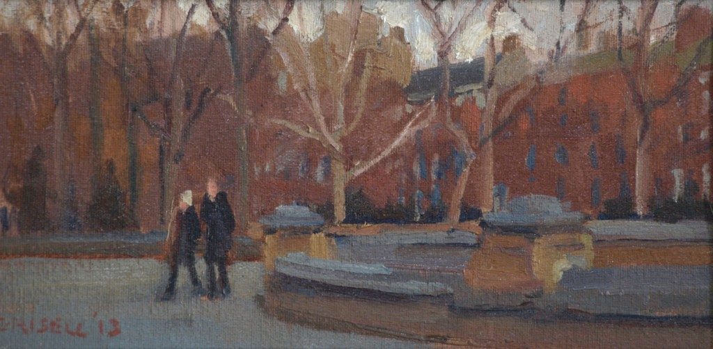 Park in December, Oil on Canvas on Panel, 6 x 12 Inches, by Susan Grisell, $150