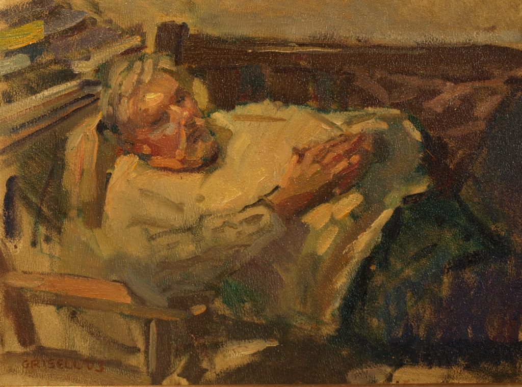 Bill Resting, Oil on Panel, 12 x 16 Inches, by Susan Grisell, $300