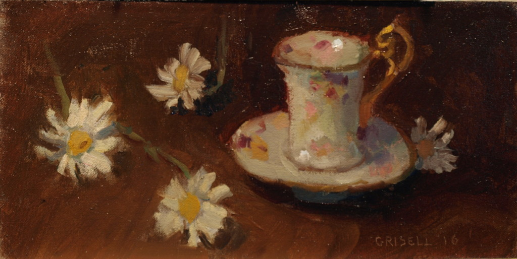Demitasse and Daisies, Oil on Canvas on Panel, 6 x 12 Inches, by Susan Grisell, $200