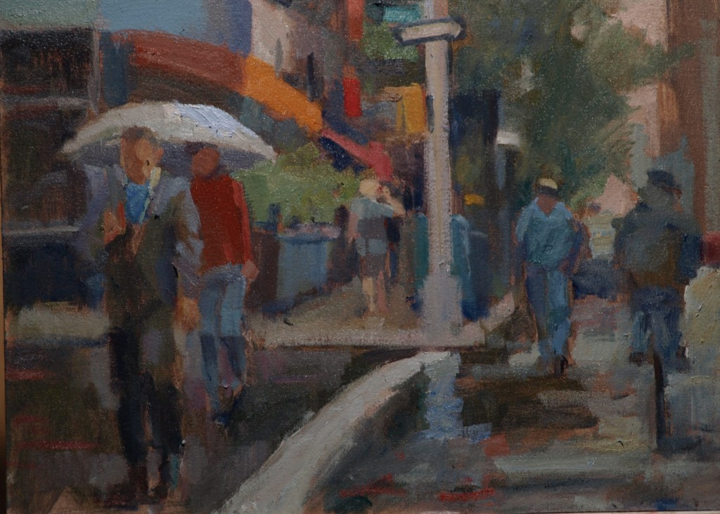 Light Rain, Oil on Canvas on Panel, 12 x 16 Inches, by Susan Grisell, $275