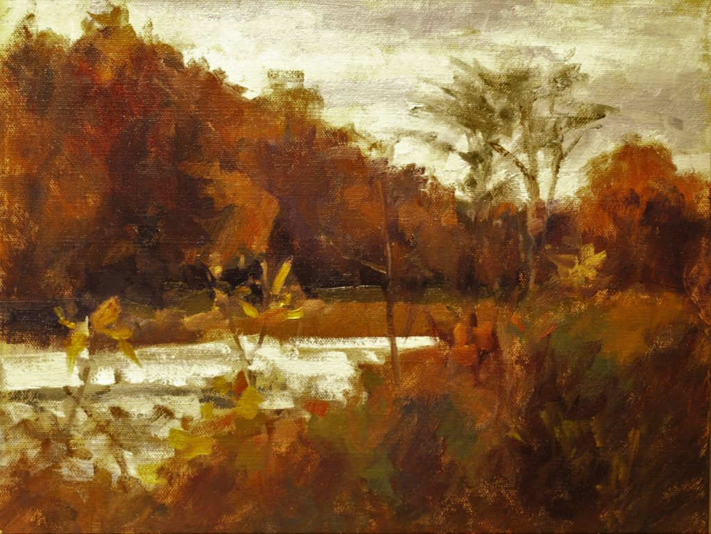 Mill Pond in October, Oil on Panel, 11 x 14 Inches, by Susan Grisell, $300