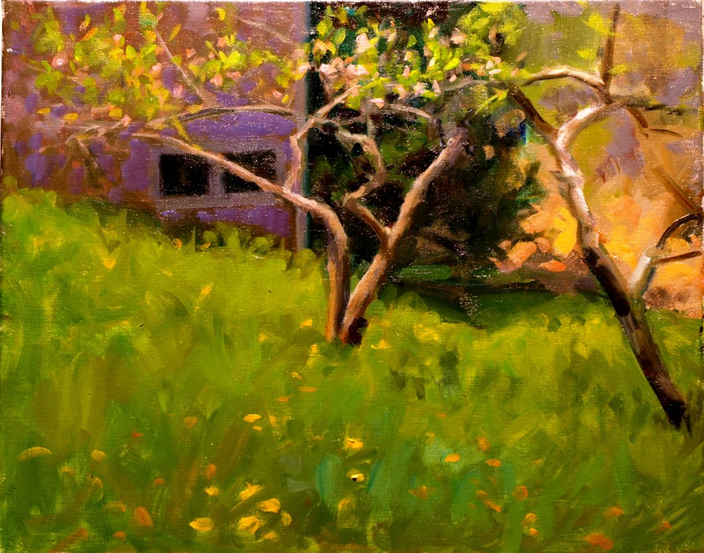 Peach Trees - May, Oil on Canvas, 16 x 20 Inches, by Susan Grisell, $450
