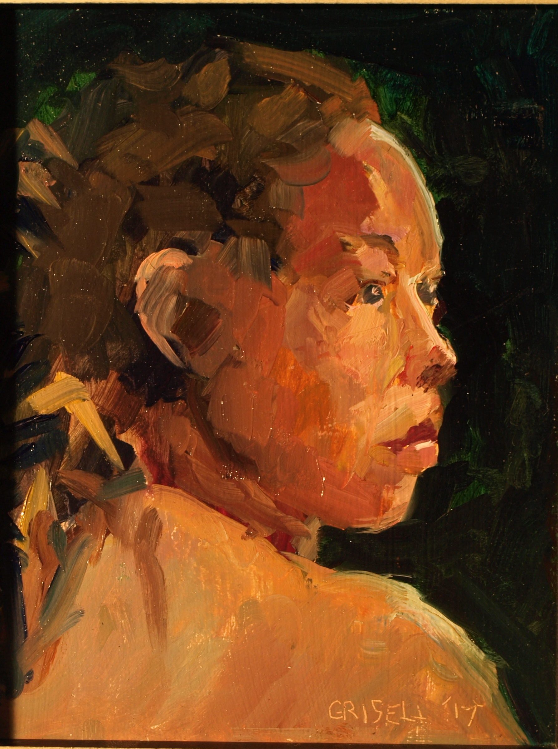 Portrait Study, Oil on Panel, 10 x 8 Inches, by Susan Grisell, $200