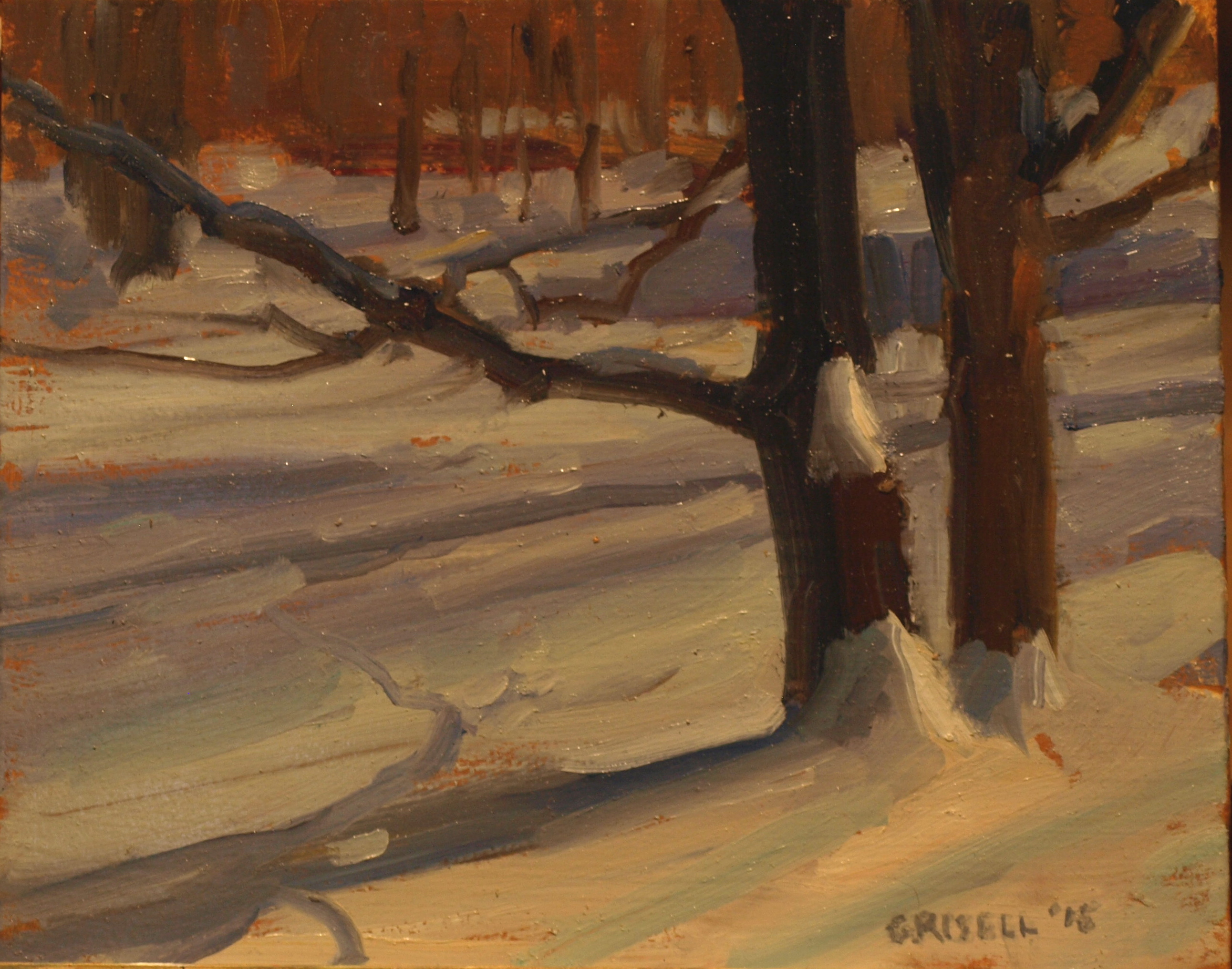 Tree Shadows, Oil on Panel, 8 x 10 Inches, by Susan Grisell, $200