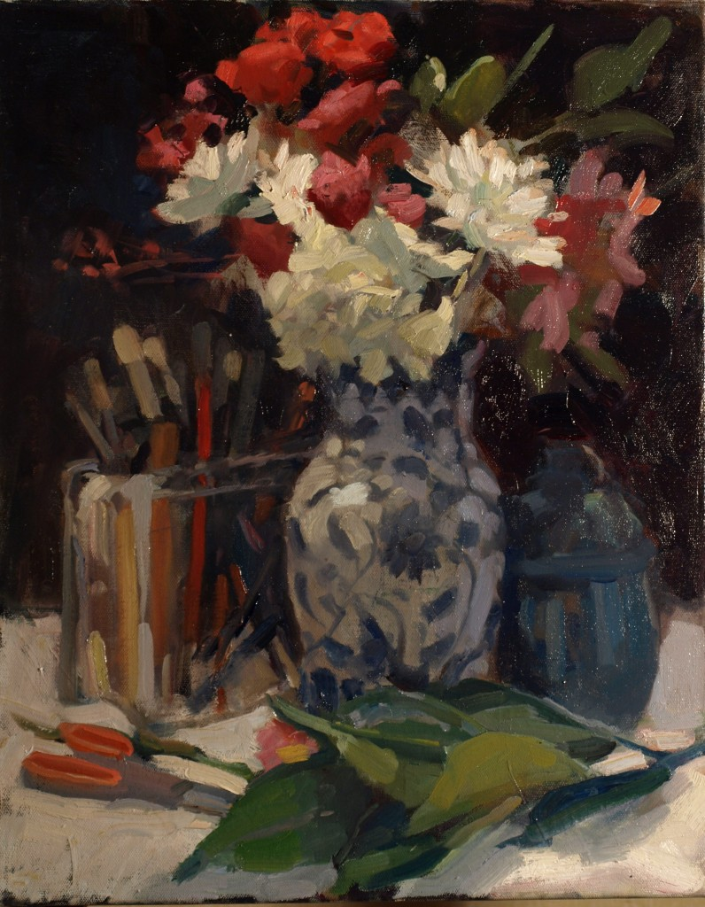 Floral Still Life, Oil on Canvas, 20 x 16 Inches, by Susan Grisell, $500