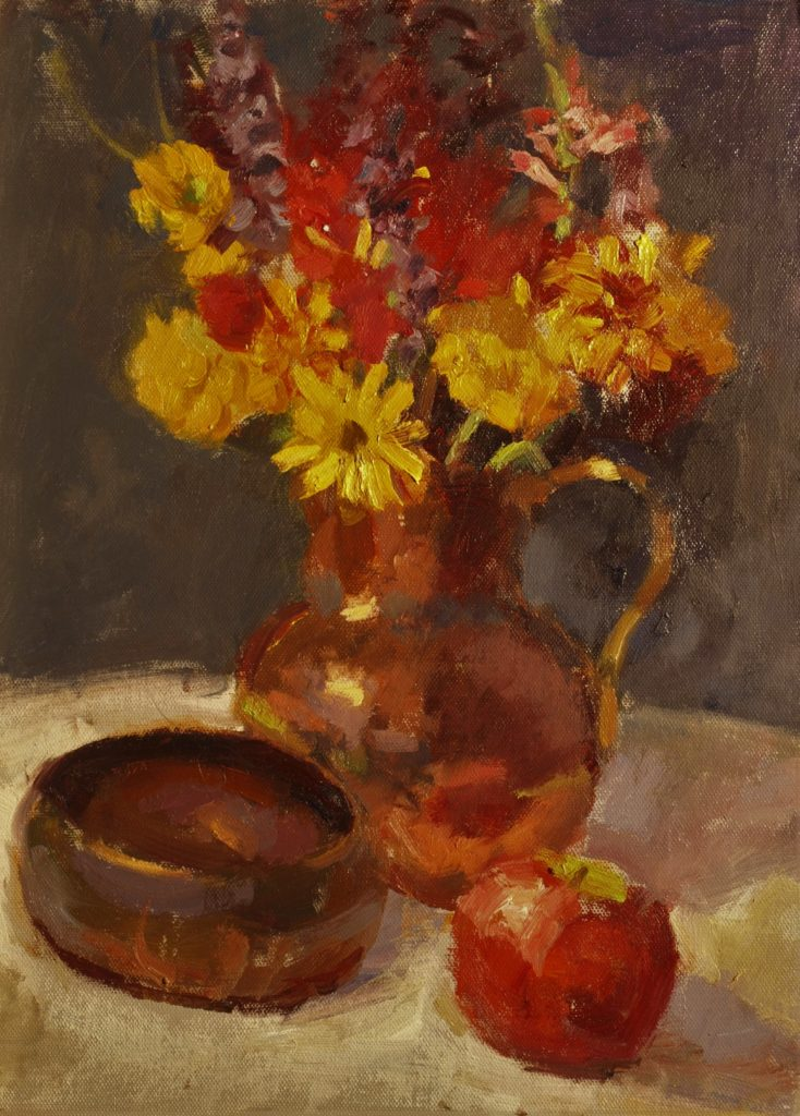 Flowers and Copper, Oil on Panel, 16 x 12 Inches, by Susan Grisell, $325