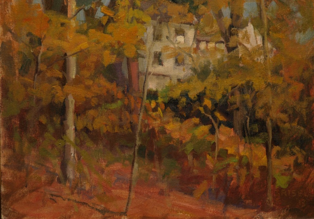 House and Maples, Oil on Canvas on Panel, 12 x 16 Inches, by Susan Grisell, $250