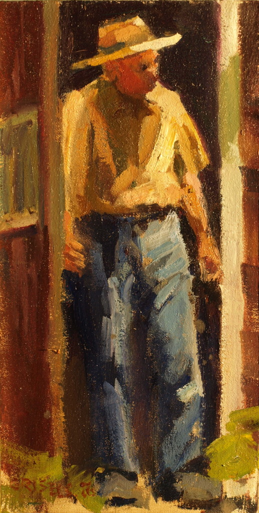 Kitchen Doorway, Oil on Canvas on Panel, 12 x 6 Inches, by Susan Grisell, $150