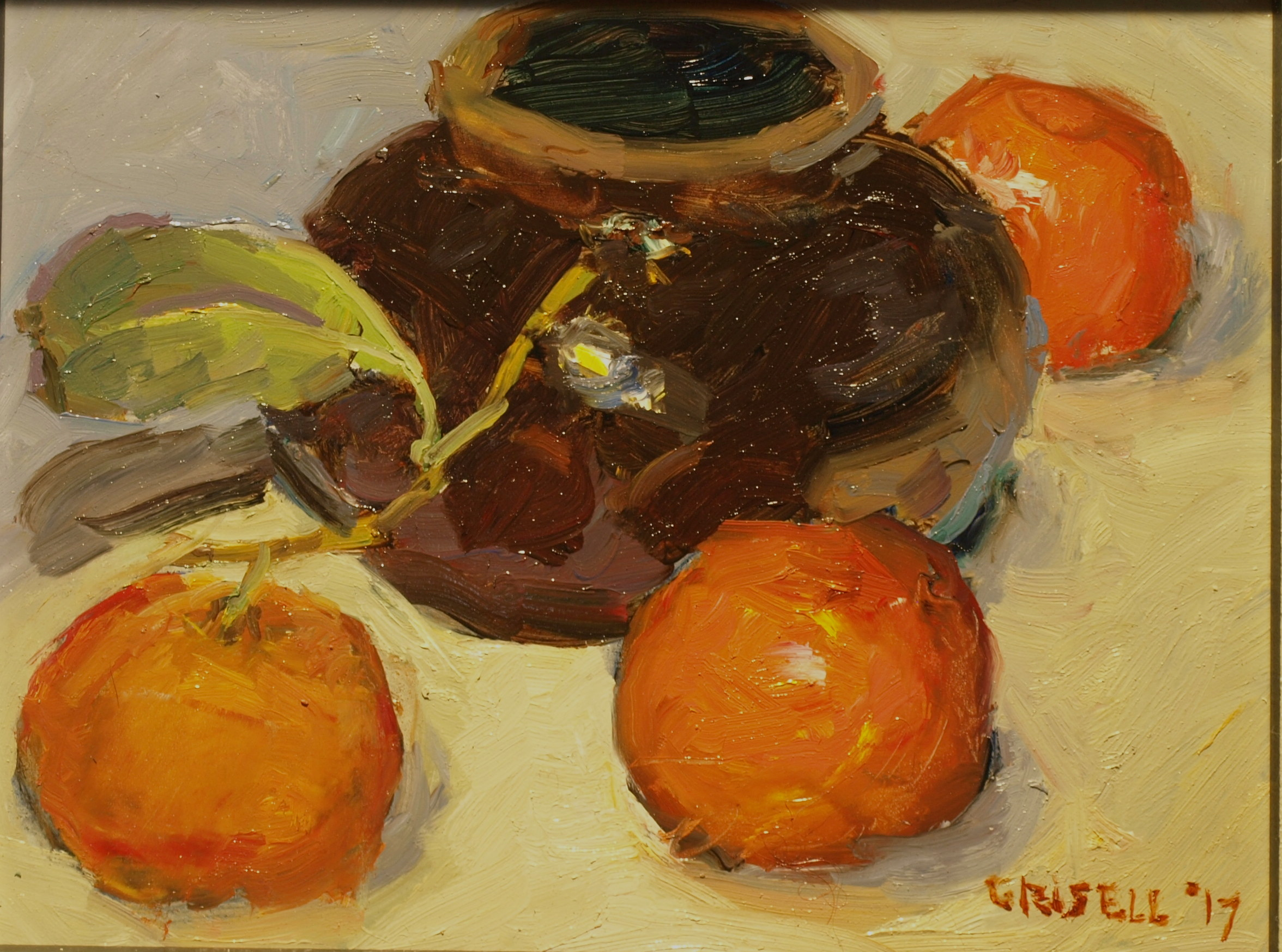 Pottery and Mandarins, Oil on Panel, 8 x 10 Inches, by Susan Grisell, $200