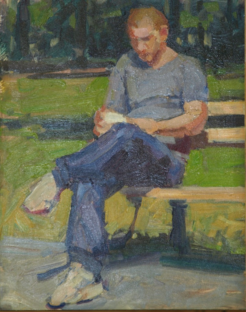Reading al Fresco, Oil on Panel, 8 x 10 Inches, by Susan Grisell, $150