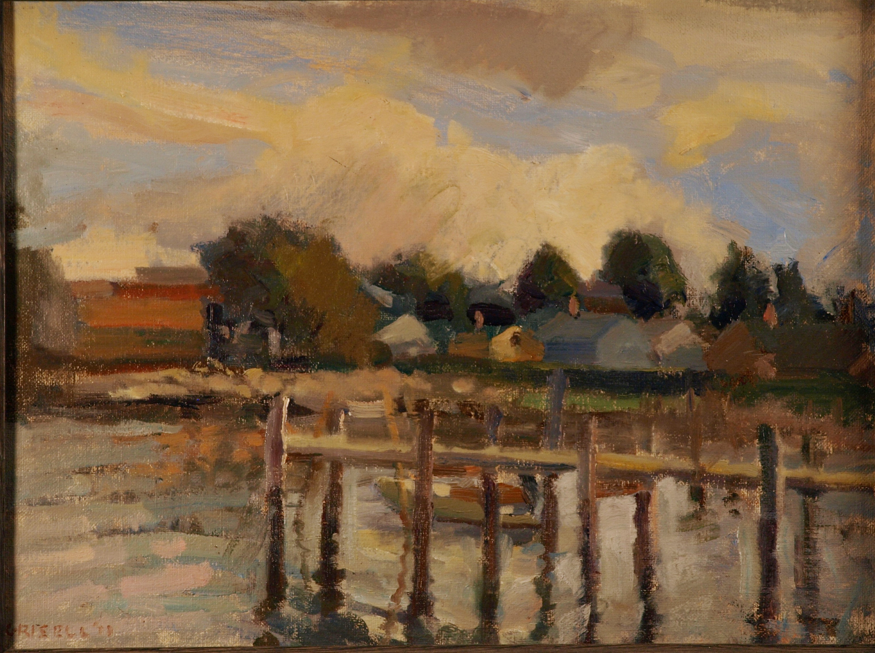 View of Stonington, Oil on Canvas on Panel, 12 x 16 Inches, by Susan Grisell, $275